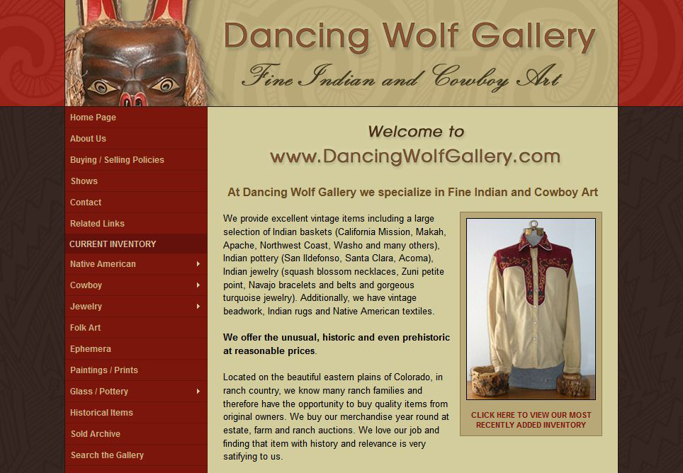 Dancing Wolf Gallery Website Design