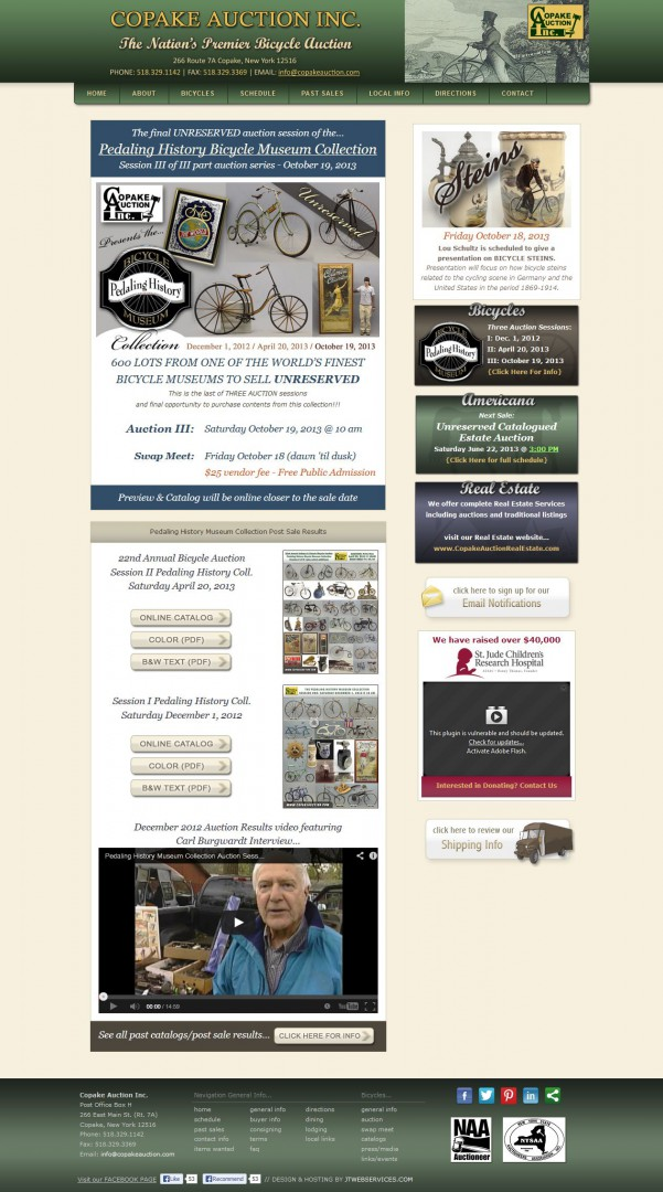 Copake Auction Inc. Website Development