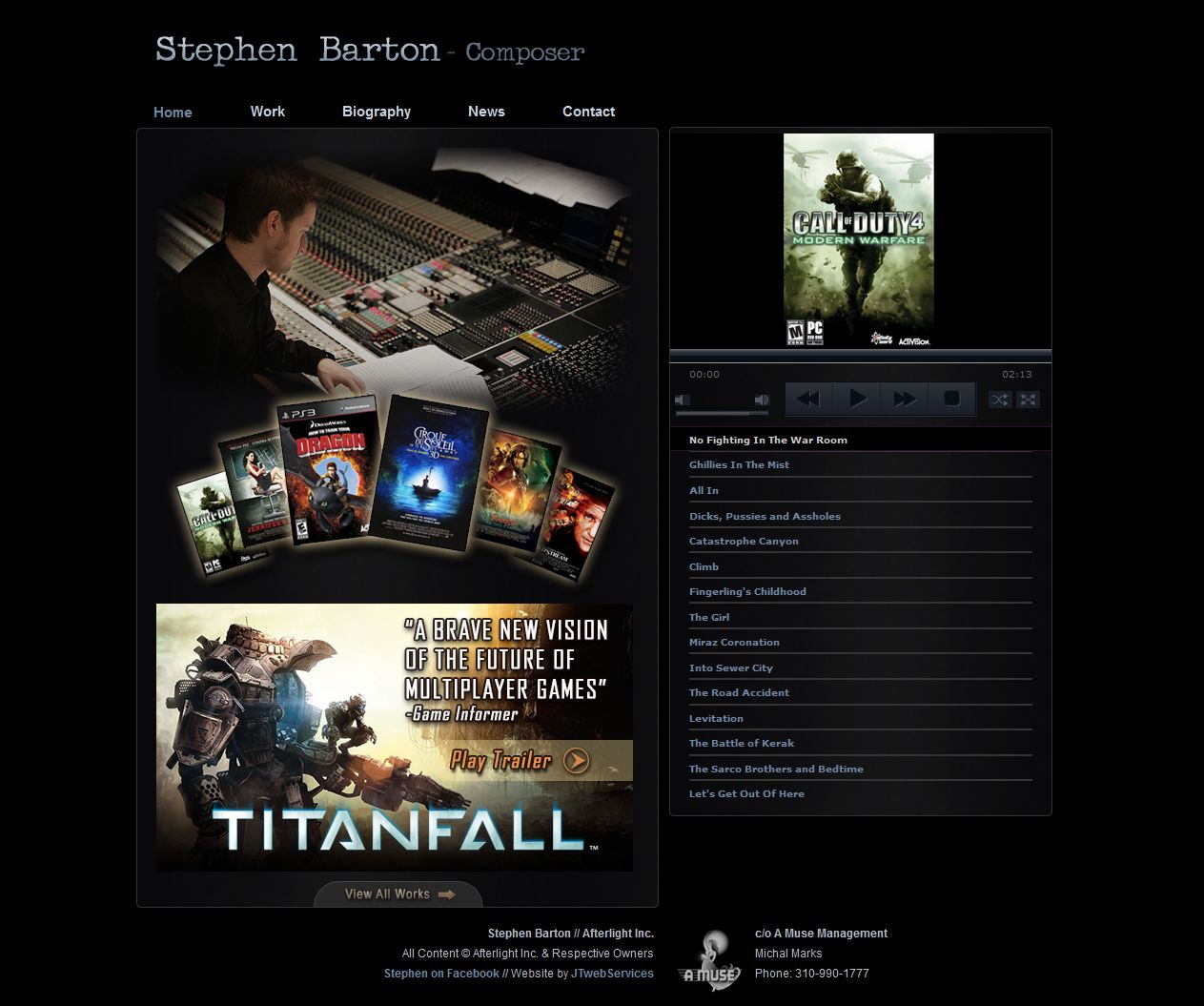 Stephen Barton / Composer – Website Development