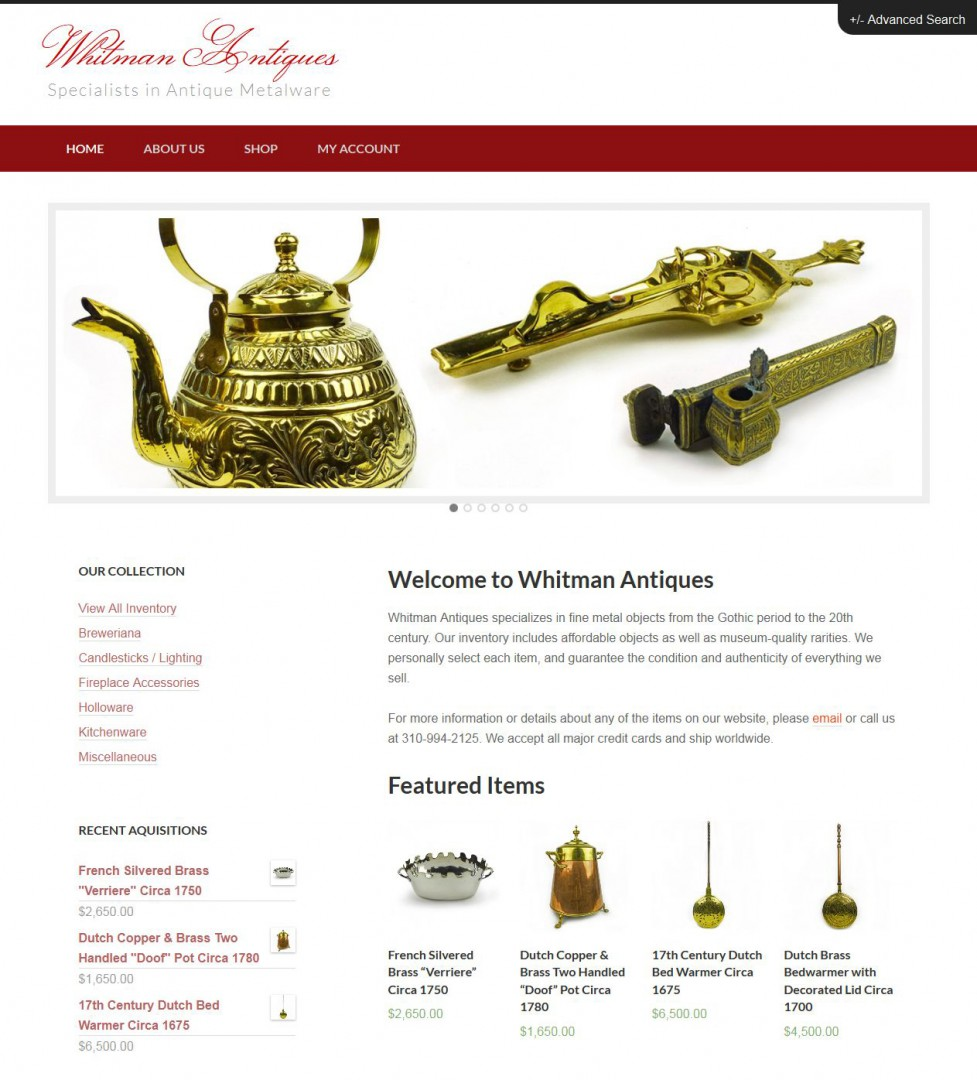 Whitman Antiques Website Redesign