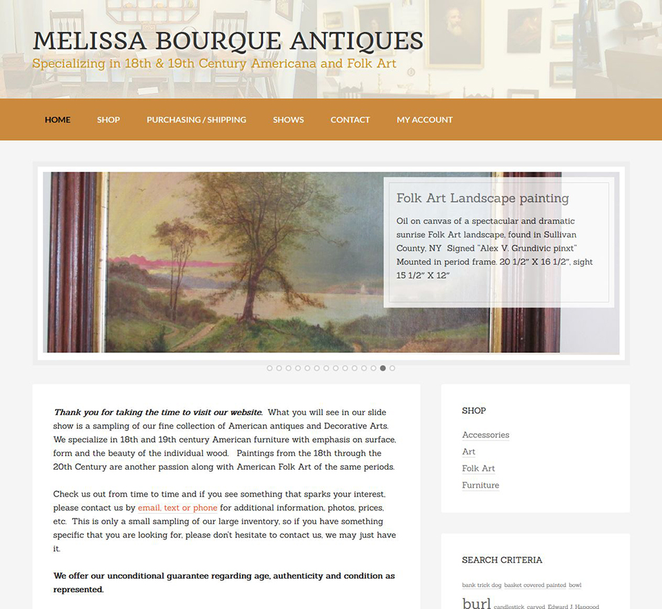 Melissa Bourque Antiques Website Redesign