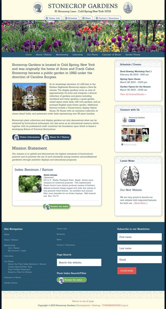 Stonecrop Gardens Website Redesign