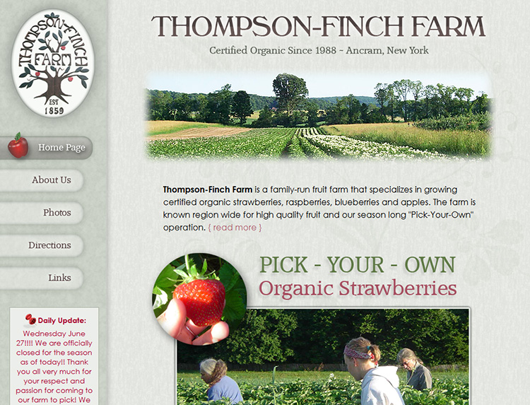 Thompson Finch Farm Website Design