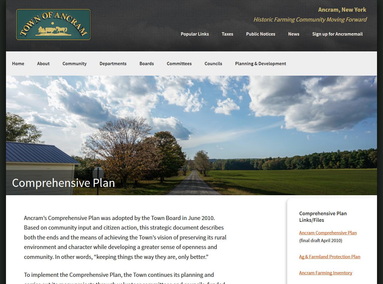 Town of Ancram, New York Website Development